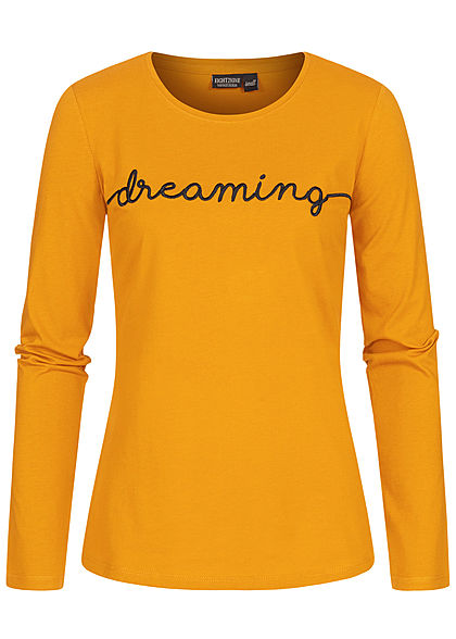 Eight2Nine Damen Longsleeve Pullover DREAMING Print curcuma gelb