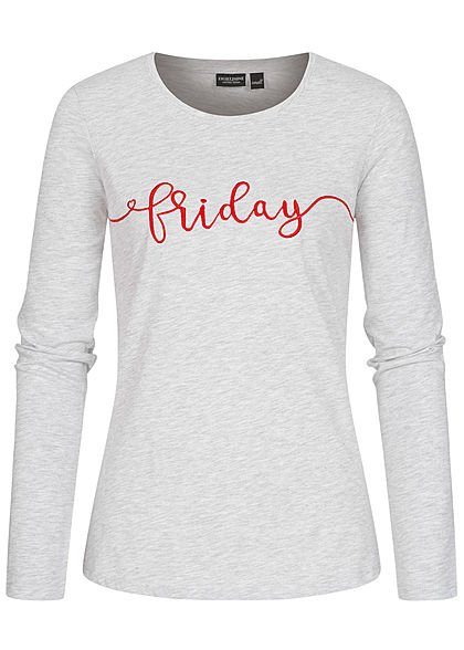 Eight2Nine Damen Longsleeve Pullover Friday Print hell grau melange - Art.-Nr.: 20120499