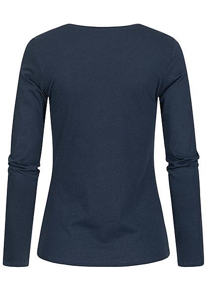 Eight2Nine Damen Longsleeve Pullover weekend Print old navy blau