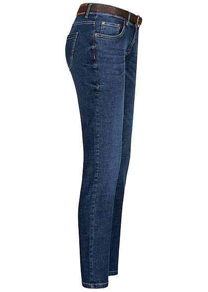 Eight2Nine Damen Skinny Jeans Hose inkl Gürtel Slim Fit 5-Pockets dunkel blau denim