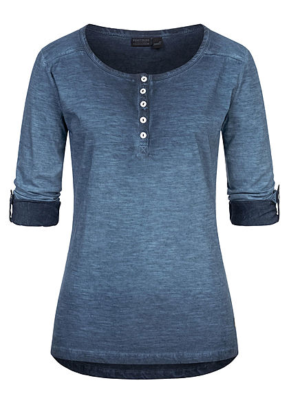 Eight2Nine Damen Turn-Up Longsleeve Knopfleiste vorne offene Nähte stormy blau - Art.-Nr.: 20120505