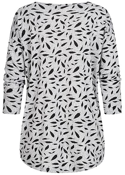 ONLY Damen NOOS 4/5 Arm Shirt Federn Muster Vokuhila hell grau melange schwarz