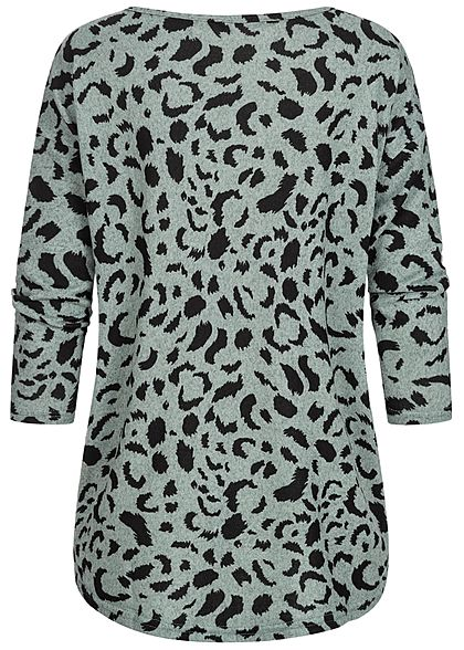 ONLY Damen NOOS 4/5 Arm Shirt Leo Print Muster Vokuhila chinois grün schwarz