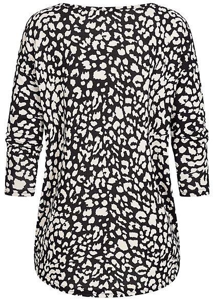 ONLY Damen NOOS 4/5 Arm Shirt Leo Print Muster Vokuhila schwarz beige