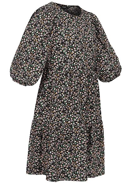 ONLY Damen NOOS 3/4 Arm Puffer Krepp Kleid Blumen Muster schwarz multicolor