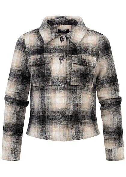 ONLY Damen kurze Wolljacke Knopfleiste Karo Muster 2 Brusttaschen pumice stone