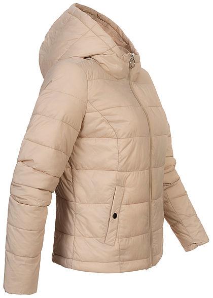 JDY by ONLY Damen kurze Nylon Steppjacke mit Kapuze 2-Pockets cement beige