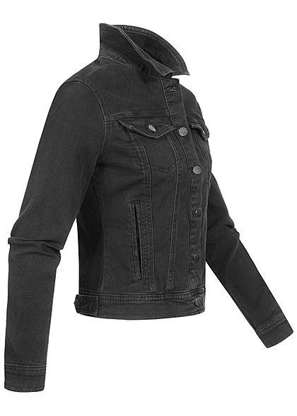 JDY by ONLY Damen kurze Jeans Jacke Knopfleiste 2 Deko Brusttaschen schwarz denim