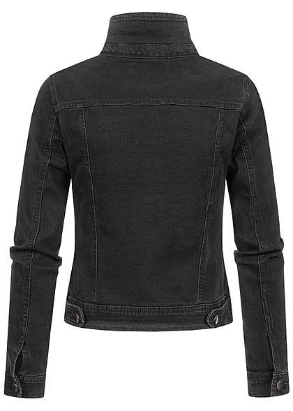 JDY by ONLY Damen NOOS Jeans Jacke Knopfleiste 2 Deko Brusttaschen schwarz denim