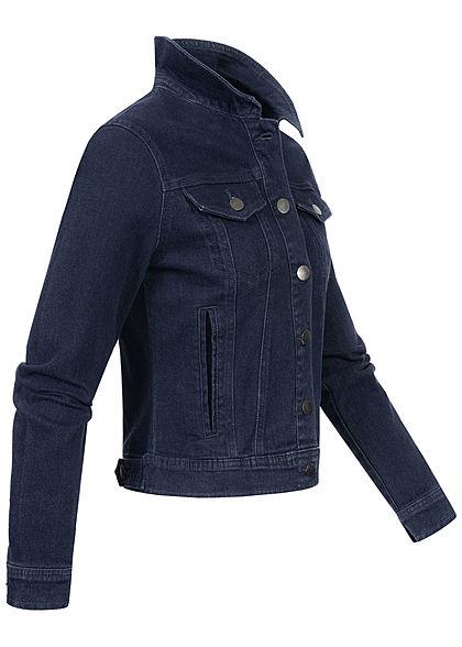 JDY by ONLY Damen kurze Jeans Jacke Knopfleiste 2 Deko Brusttaschen medium blau denim