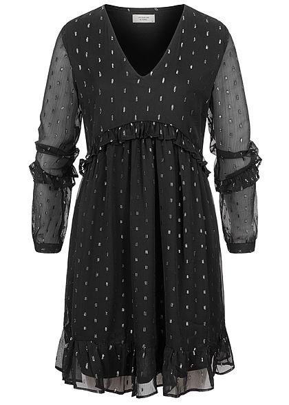JDY by ONLY Damen Mini V-Neck Langarm Mesh Kleid in ...