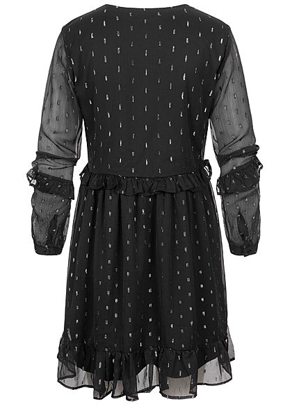 JDY by ONLY Damen Mini V-Neck Langarm Mesh Kleid in Stufenoptik 2-lagig schwarz