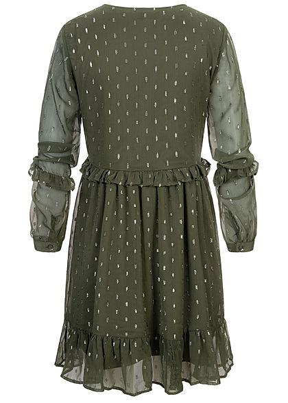 JDY by ONLY Damen Mini V-Neck Langarm Mesh Kleid in Stufenoptik 2-lagig oliv grün