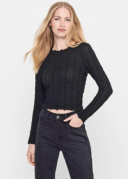 ONLY Damen Cropped Longsleeve Strukturstoff Pullover Frill Details schwarz