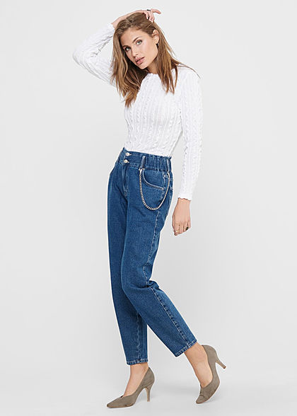 ONLY Damen Cropped Longsleeve Strukturstoff Pullover Frill Details cloud dancer weiss