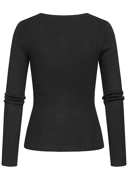 ONLY Damen Ribbed Longsleeve Pullover mit Knopfleiste Figurbetont schwarz
