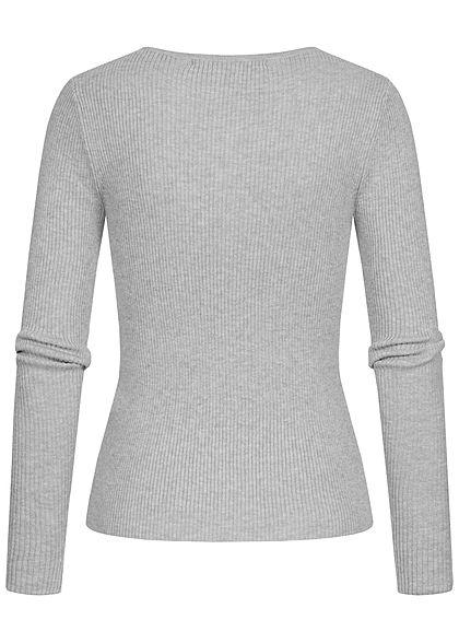 ONLY Damen Ribbed Longsleeve Pullover mit Knopfleiste Figurbetont hell grau melange