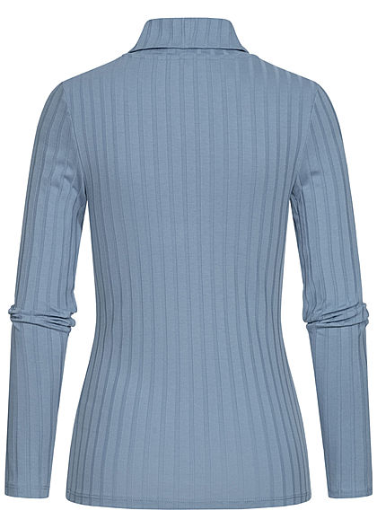 Tom Tailor Damen Rollkragen Strukturpullover Longsleeve medium soft blau
