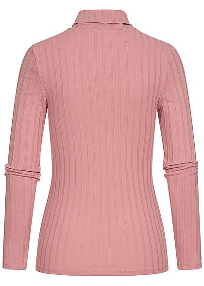 Tom Tailor Damen Rollkragen Strukturpullover Longsleeve cozy rosa
