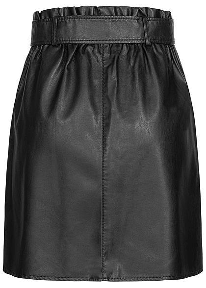 Tom Tailor Damen Paperbag Kunstleder Rock inkl. Bindegürtel tief schwarz