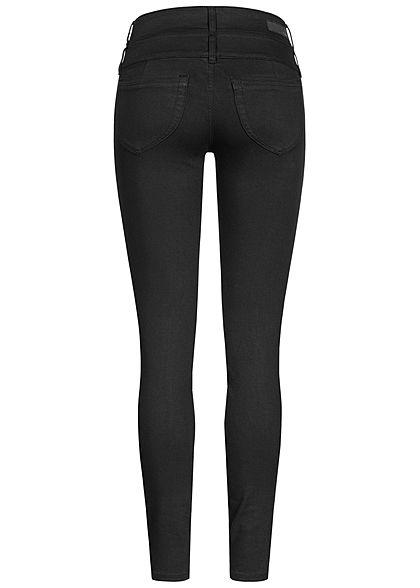 Tom Tailor Damen Extra Skinny Jeans Hose High-Waist breiter Bund Knopfleiste schwarz denim
