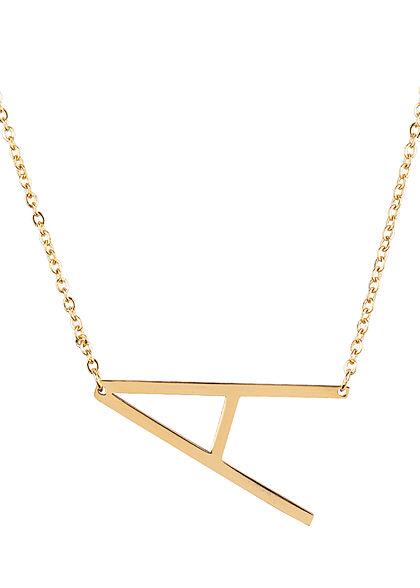 Hailys Damen Fashion Halskette mit Buchstaben Anhänger A gold