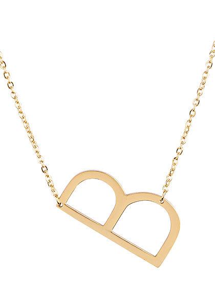 Hailys Damen Fashion Halskette mit Buchstaben Anhänger B gold