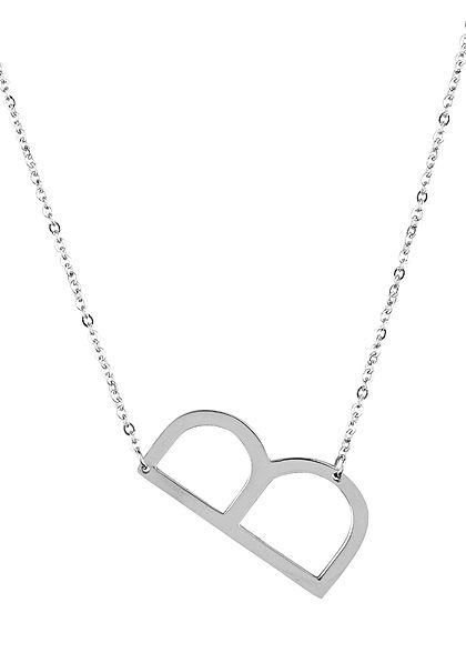 Hailys Damen Fashion Halskette mit Buchstaben Anhänger B silber