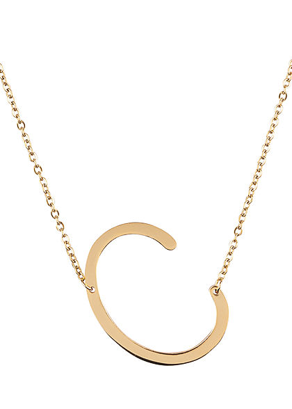 Hailys Damen Fashion Halskette mit Buchstaben Anhänger C gold