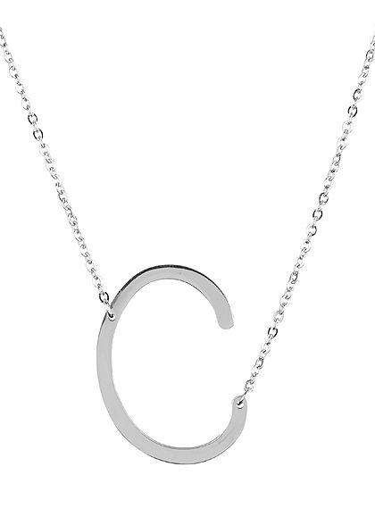Hailys Damen Fashion Halskette mit Buchstaben Anhänger C silber