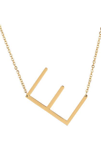 Hailys Damen Fashion Halskette mit Buchstaben Anhänger E gold