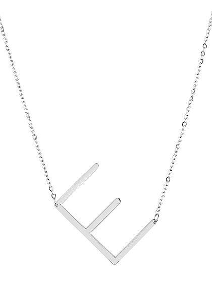 Hailys Damen Fashion Halskette mit Buchstaben Anhänger E silber
