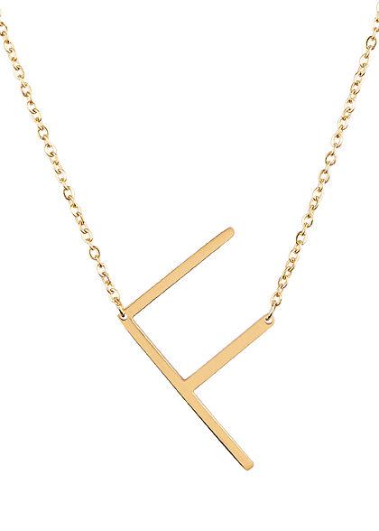 Hailys Damen Fashion Halskette mit Buchstaben Anhänger F gold