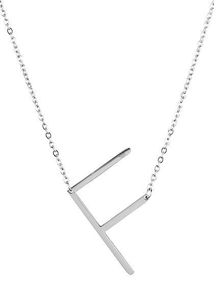 Hailys Damen Fashion Halskette mit Buchstaben Anhänger F silber