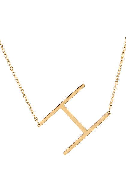 Hailys Damen Fashion Halskette mit Buchstaben Anhänger H gold