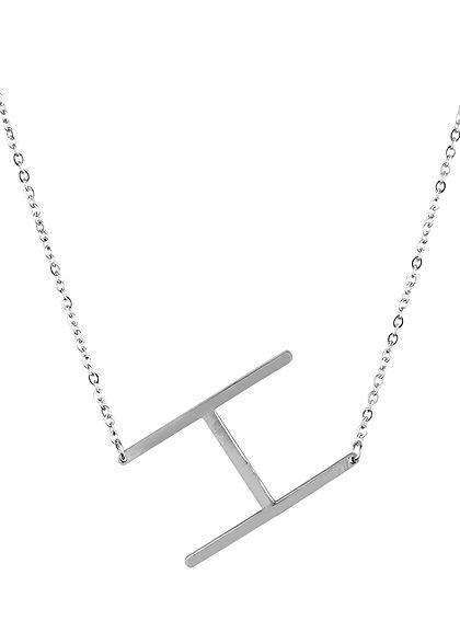 Hailys Damen Fashion Halskette mit Buchstaben Anhänger H silber