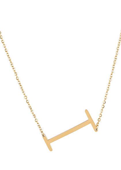 Hailys Damen Fashion Halskette mit Buchstaben Anhänger I gold