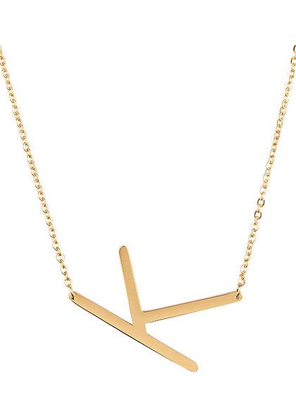 Hailys Damen Fashion Halskette mit Buchstaben Anhänger K gold