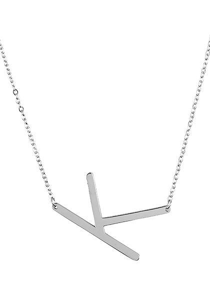 Hailys Damen Fashion Halskette mit Buchstaben Anhänger K silber
