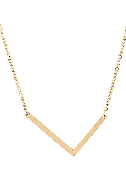 Hailys Damen Fashion Halskette mit Buchstaben Anhänger L gold