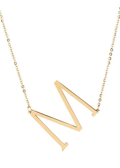 Hailys Damen Fashion Halskette mit Buchstaben Anhänger M gold