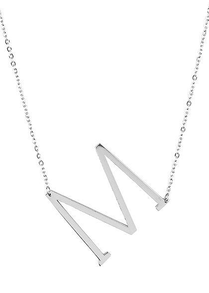 Hailys Damen Fashion Halskette mit Buchstaben Anhänger M silber