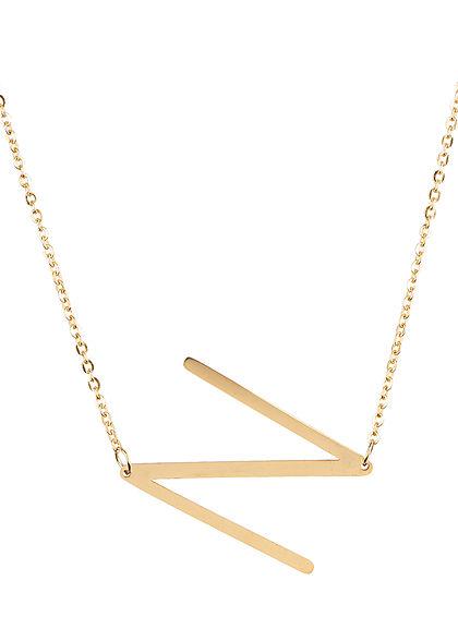 Hailys Damen Fashion Halskette mit Buchstaben Anhänger N gold