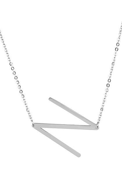 Hailys Damen Fashion Halskette mit Buchstaben Anhänger N silber