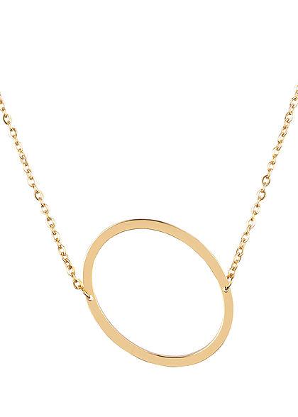 Hailys Damen Fashion Halskette mit Buchstaben Anhänger O gold