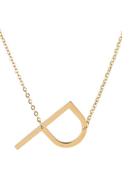 Hailys Damen Fashion Halskette mit Buchstaben Anhänger P gold