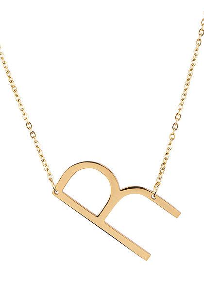 Hailys Damen Fashion Halskette mit Buchstaben Anhänger R gold