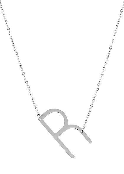 Hailys Damen Fashion Halskette mit Buchstaben Anhänger R silber