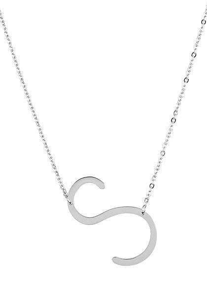 Hailys Damen Fashion Halskette mit Buchstaben Anhänger S silber