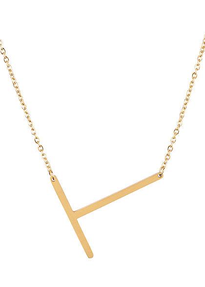 Hailys Damen Fashion Halskette mit Buchstaben Anhänger T gold